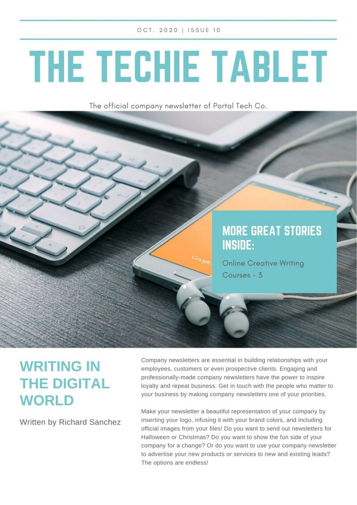 E-mail marketing for learning from tablet one page